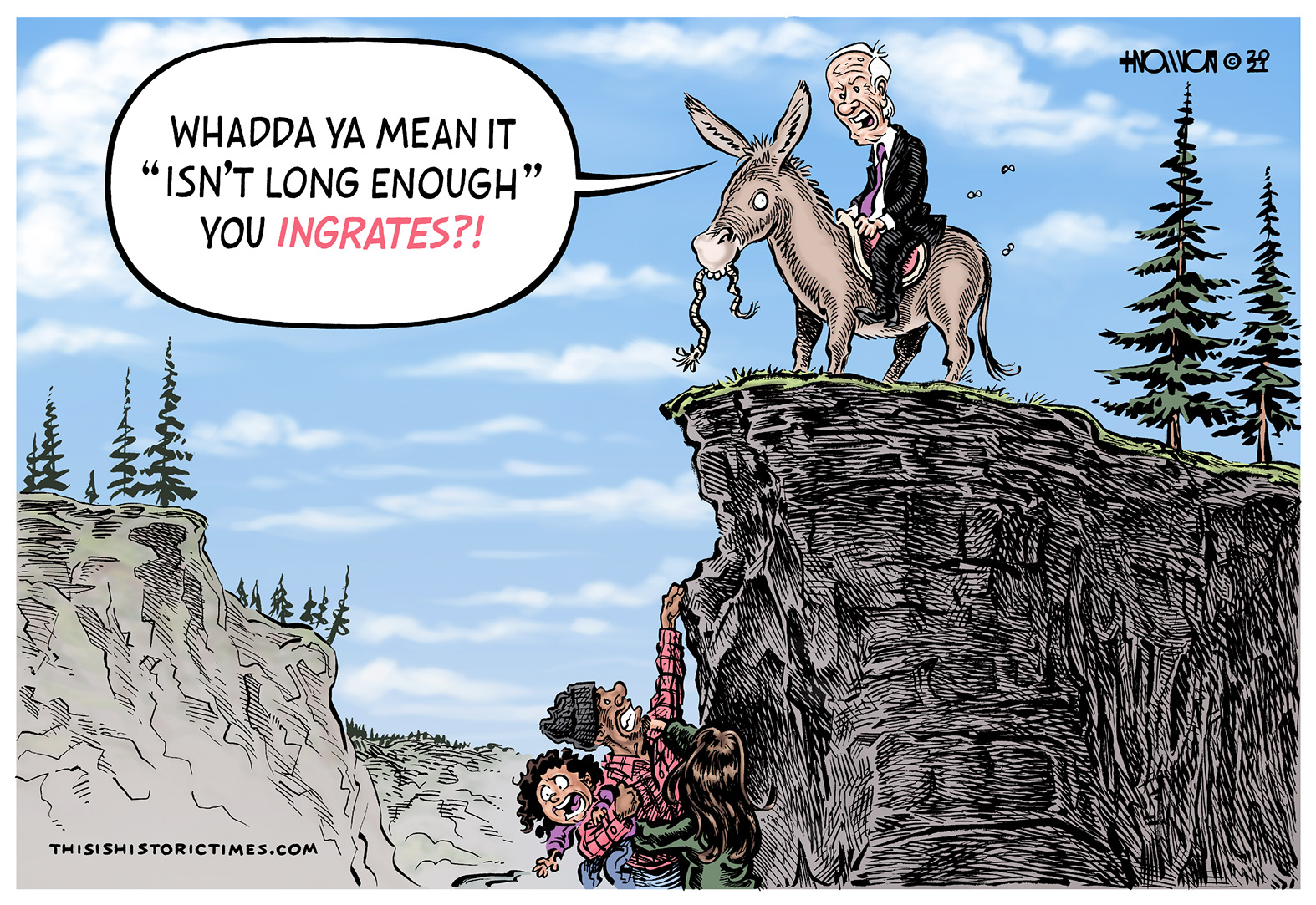 A family is need of help after falling off a cliff, but the rope Joe Biden brought is far too short for them to reach it.